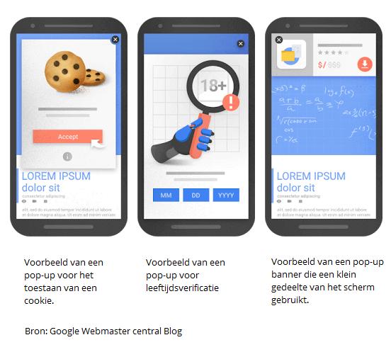 Voorbeelden van pop-up's die volgens Google zijn toegestaan in de mobiele zoekresultaten
