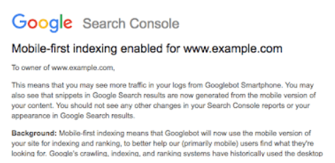 Melding in Google Search Console Mobile First